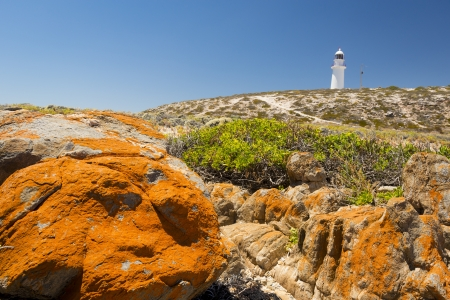 yorke: Dangerous rocks surround the lighthouse at Corny Point, South Australia. Stock Photo