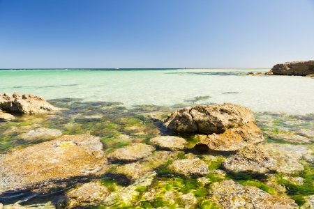 Crystal clear waters with amazing colors along the rocky coast photo