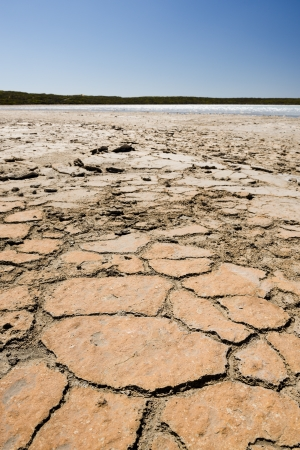 yorke: Earth badly cracked and broken under a hot sky Stock Photo