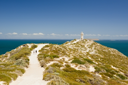 Lighthouse at Cape Spencer, South Australia, perched high above the ocean Stock Photo - 18249656
