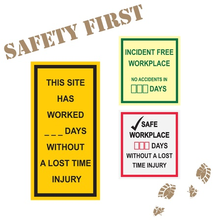 Workplace safety signs for incident free time and lost time injury in days Illustration