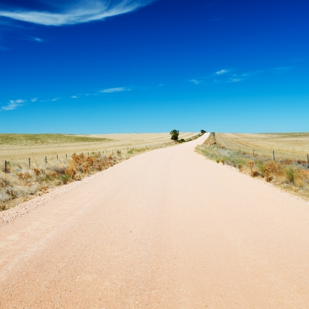 infinity road: Dirt road in country Australia stretches into the distance under a blue sky