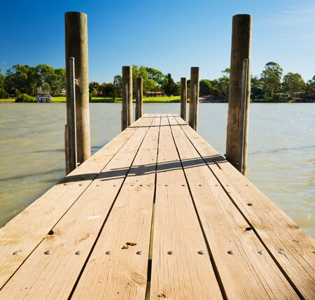 Wooden jetty along the Murray River, South Australia Stock Photo - 18550888