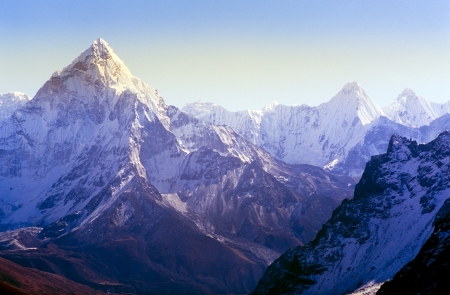 snow capped mountain: Spectacular mountain scenery on the Mount Everest Base Camp trek through the Himalaya, Nepal