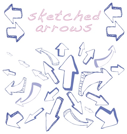 blue pen: Many different shapes of arrows sketched by hand in 3D blue pen
