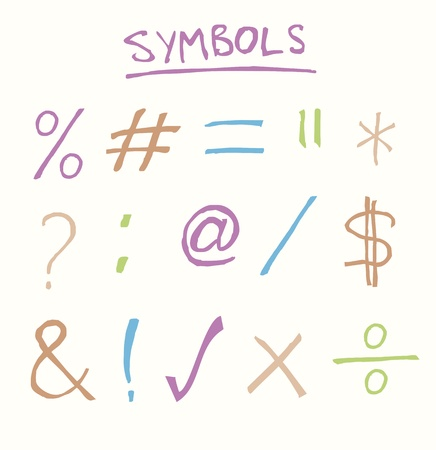 equals: Hand drawn common symbols such as equals, tick, cross, and, hashtag
