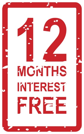 Red rubber stamp for 12 months interest free business concept Vector