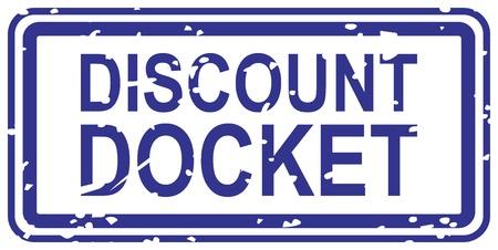 docket: Blue rubber stamp for discount docket business concept