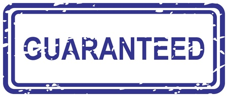 promise: Blue rubber stamp for guaranteed business concept