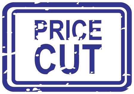 slash: Blue rubber stamp for price cut business concept Illustration