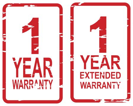 Red rubber stamp for 1 year warranty and extended warranty business concept Vector
