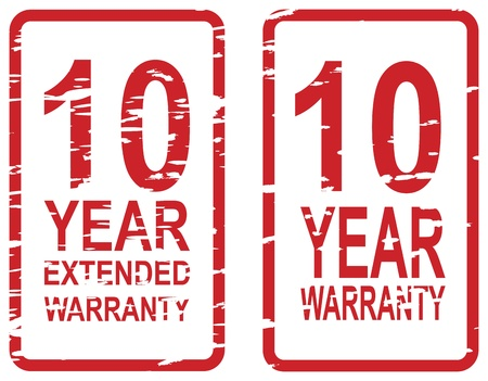 Red rubber stamp for 10 year warranty and extended warranty business concept Vector