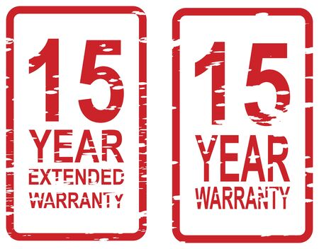 15: Red rubber stamp for 15 year warranty and extended warranty business concept Illustration