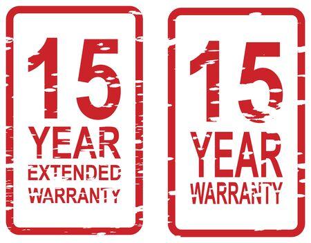 Red sello de goma de la garant�a de 15 a�os y el concepto de garant�a extendida negocios Foto de archivo - 18989934