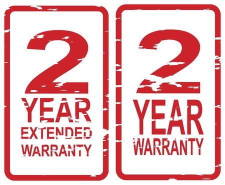 Red rubber stamp for 2 year warranty and extended warranty business concept Vector