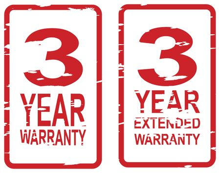 Red rubber stamp for 3 year warranty and extended warranty business concept Vector