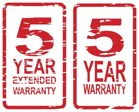 Red rubber stamp for 5 year warranty and extended warranty business concept