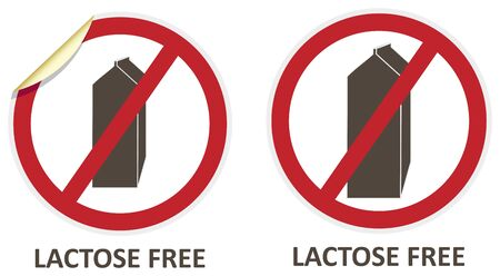 Lactose free stickers and icons for allergen free products