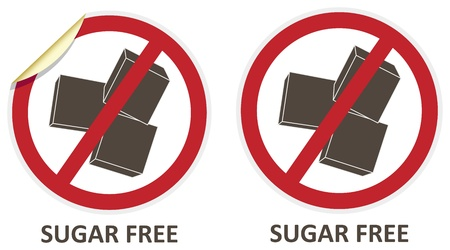 allergen: Sugar free vector stickers and icons for allergen free products Illustration