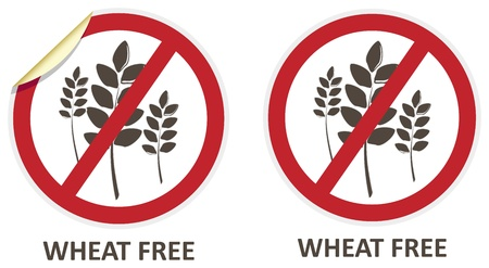 labelling: Wheat free stickers and icons for allergen free products