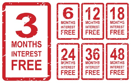 Set of red rubber stamps for interest free concept, including 3, 6, 12, 18, 24, 36 and 48 months interest free Stock Vector - 19454646