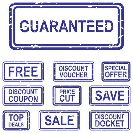 buono sconto: Set di timbri in gomma blu in vendita i concetti di business, tra cui vendita garantita, gratuitamente, salvare,, coupon di sconto e offerte speciali