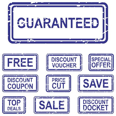 docket: Set of blue rubber stamps for business sale concepts, including guaranteed, free, save, sale, discount coupon and special offer