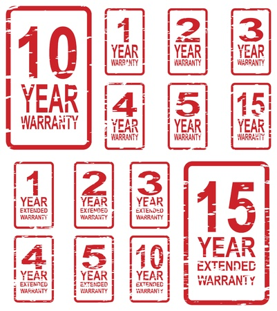1 year warranty: Red rubber stamp vector for warranty concept, including 1, 2, 3, 4, 5, 10 and 15 year extended warranty Illustration