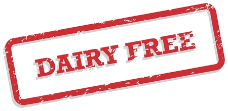 labelling: Red rubber stamp for dairy free food concept