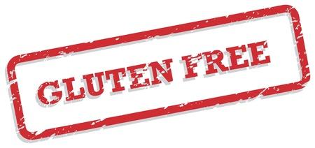 sello de goma: Sello de goma roja por concepto de alimentos libres de gluten Vectores