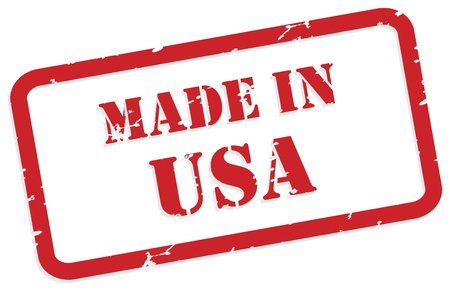 made in: Red rubber stamp  of Made In USA