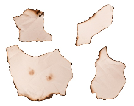 Variety of burnt paper edges with curls and creases in different shapes photo