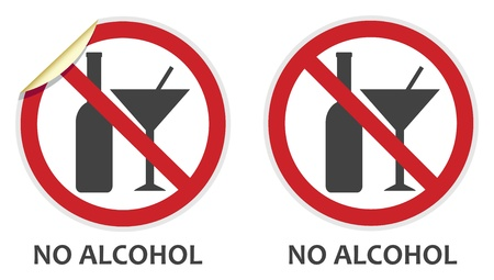 banned: No alcohol signs in two vector styles depicting banned activities Illustration