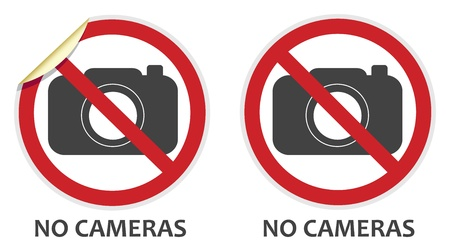 banned: No cameras or photography signs in two vector styles depicting banned activities