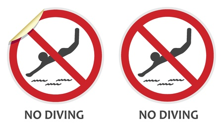 No diving signs in two vector styles depicting banned activities