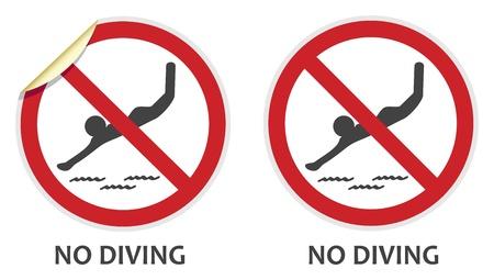 prohibido: No hay signos de buceo en dos estilos de vectores que representan las actividades prohibidas