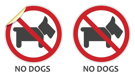 banned: No dogs or animals signs in two vector styles depicting banned activities
