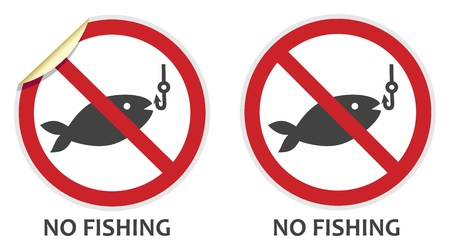 No fishing signs in two vector styles depicting banned activities Illustration