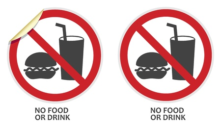 No food or drink signs in two vector styles depicting banned activities Vector