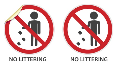 littering: No littering signs in two vector styles depicting banned activities