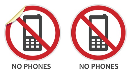 no cell: No phones signs in two vector styles depicting banned activities