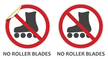 rollerblades: No rollerblades signs in two vector styles depicting banned activities Illustration