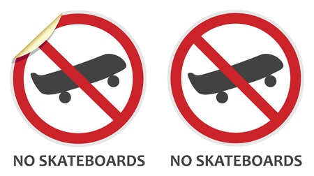 No skateboards signs in two vector styles depicting banned activities Vector