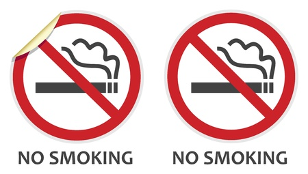 smoking a cigarette: No smoking signs in two vector styles depicting banned activities