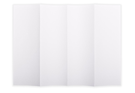 White paper sheet folded in 4 quarters isolated over a white background photo