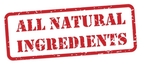 nutrition icon: All natural ingredients red rubber stamp  Illustration