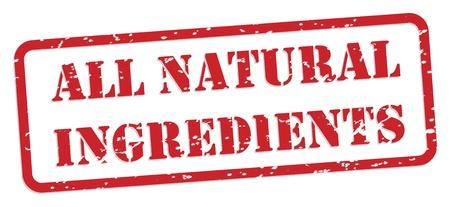 nutrition label: All natural ingredients red rubber stamp  Illustration
