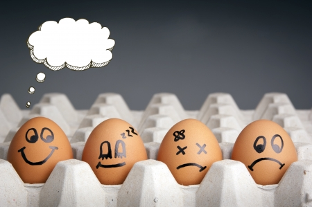 health issue: Mental health concept in playful style with egg characters displaying different emotions and blank speech bubbles