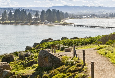 horse drawn carriage: View from Granite Island towards Victor Harbor and the famous causeway between them Stock Photo