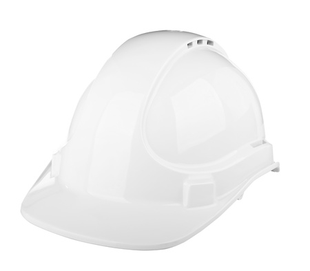 Hard hat used on construction site in white isolated on white photo